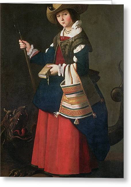 Martyr Greeting Cards - Saint Margaret Of Antioch, 1630-34 Oil On Canvas Greeting Card by Francisco de Zurbaran