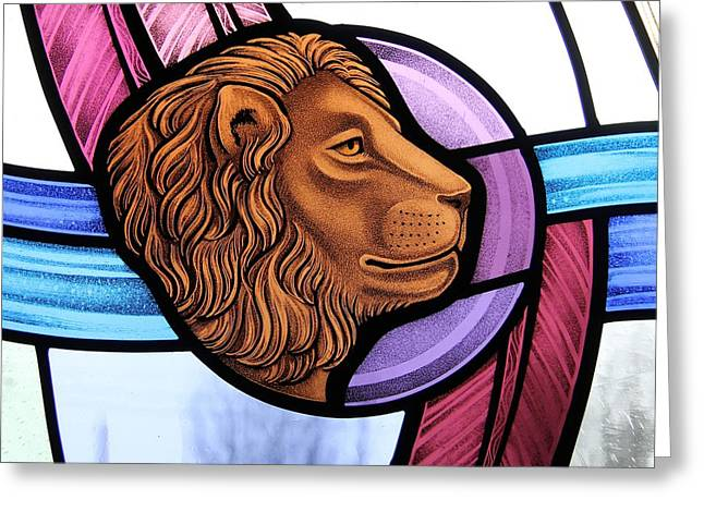 Lions Glass Art Greeting Cards - Saint Mark Lion Greeting Card by Gilroy Stained Glass