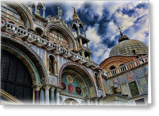 Byzantine Greeting Cards - Saint Marks Basilica Greeting Card by Lee Dos Santos