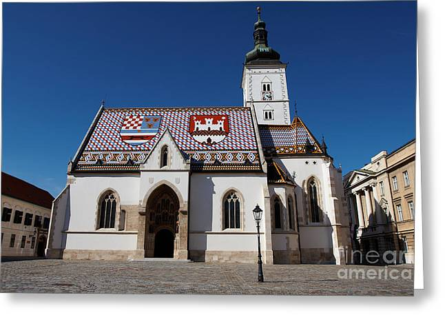 Town Square Pyrography Greeting Cards - Saint Marks Church Greeting Card by Victor Georgiev