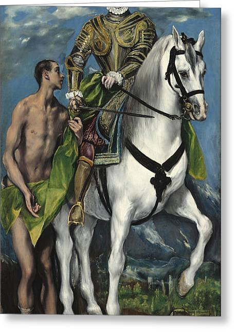 Popular Beliefs Greeting Cards - Saint Martin And The Beggar Greeting Card by El Greco