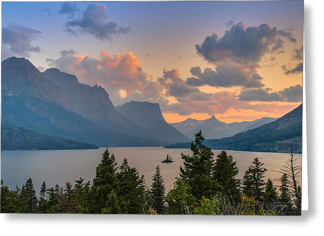 Hdr Landscape Greeting Cards - Saint Mary Lake Greeting Card by Adam Mateo Fierro