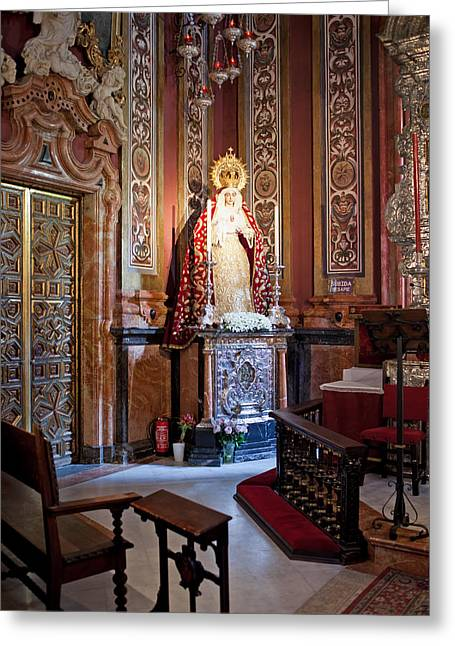 Spanish Art Sculpture Greeting Cards - Saint Mary Statue in the Sevilla Cathedral Greeting Card by Artur Bogacki