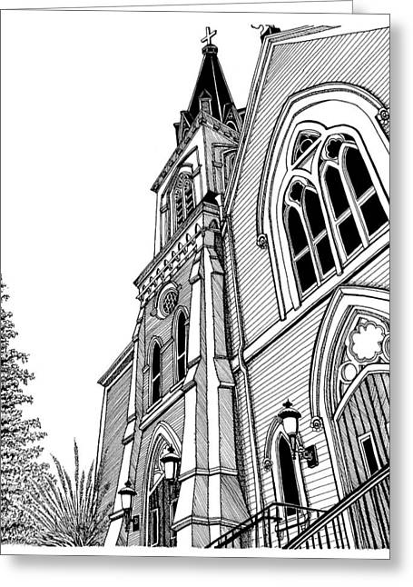 Conor Drawings Greeting Cards - Saint Marys Holliston MA Greeting Card by Conor Plunkett