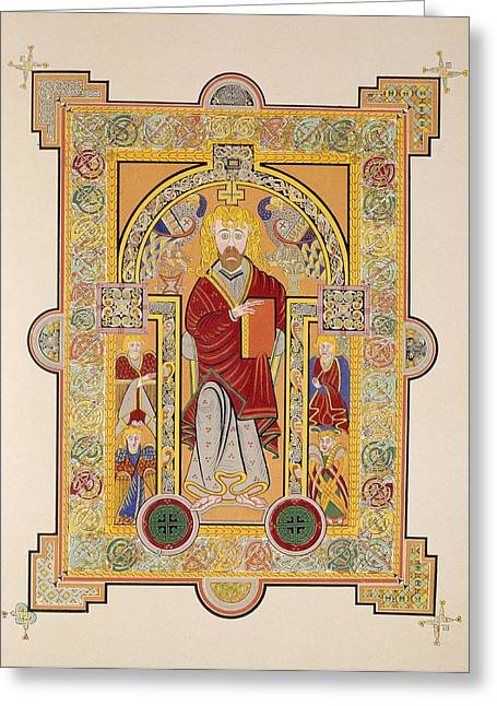 Interlaced Greeting Cards - Saint Matthew, From A Facsimile Copy Greeting Card by Irish School