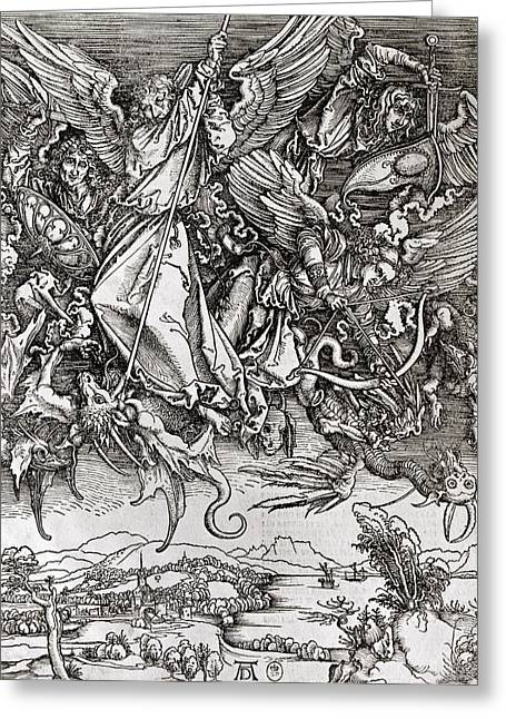 Archangel Drawings Greeting Cards - Saint Michael and the Dragon Greeting Card by Albrecht Durer or Duerer