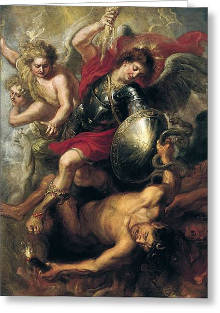 Workshop. Greeting Cards - Saint Michael expelling Lucifer and the Rebellious Angels Greeting Card by Workshop of Rubens