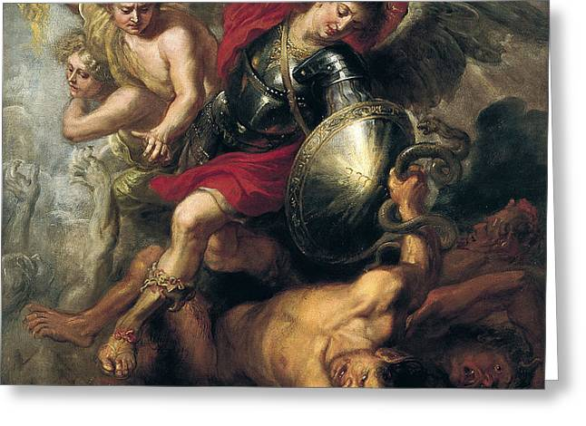 Saint Michael Expelling Lucifer And The Rebellious Angels Greeting Card by Workshop of Rubens