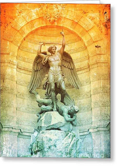 Saint Michael Fountain Old World Greeting Card by Carol Groenen