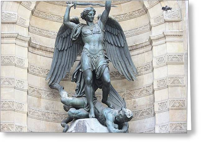 Saint Michael the Archangel in Paris Greeting Card by Carol Groenen