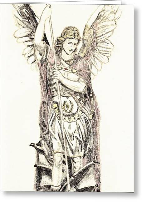 Archangel Drawings Greeting Cards - Saint Michael the Archangel Greeting Card by Matteo TOTARO