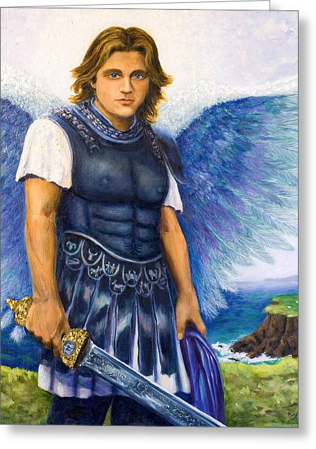 Male Torso Greeting Cards - Saint Michael the Archangel Greeting Card by Patty Kay Hall