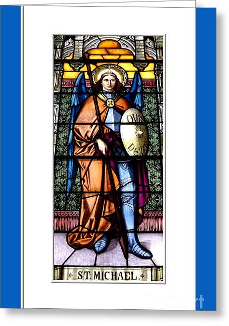 Santuci Greeting Cards - Saint Michael The Archangel Stained Glass Window Greeting Card by Rose Santuci-Sofranko