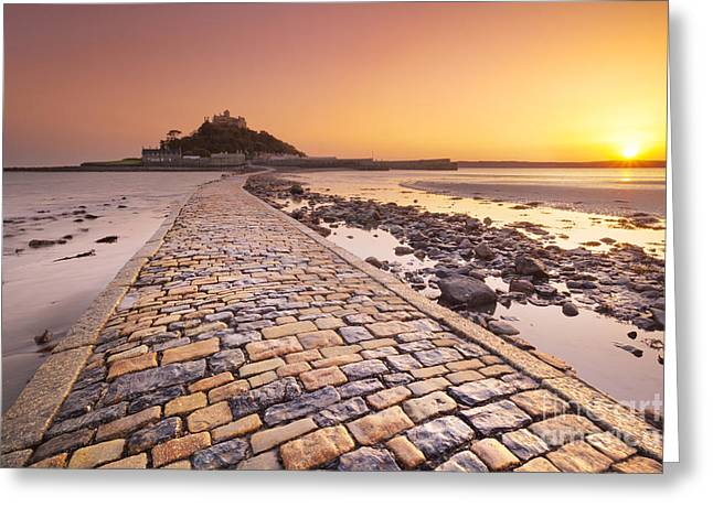 Ocean Art Photos Greeting Cards - Saint Michaels Mount in Cornwall in England Greeting Card by Sara Winter
