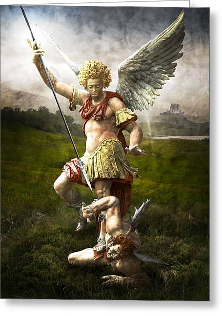 Religious Art Greeting Cards - Saint Michaels Triumpf Greeting Card by Marc Huebner