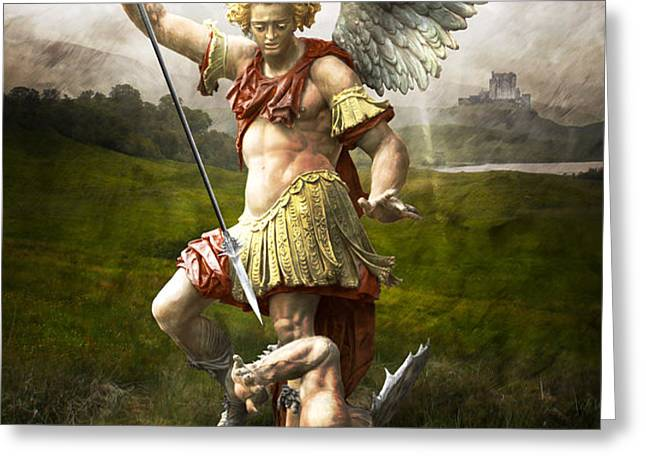 Saint Michael's Triumpf Greeting Card by Marc Huebner