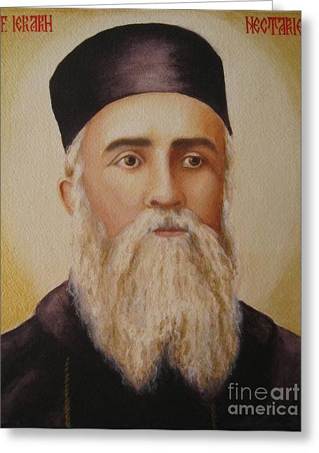 St Nectarios Greeting Cards - Saint Nectarios of Aegina Greeting Card by Andreea Ioana Bagiu