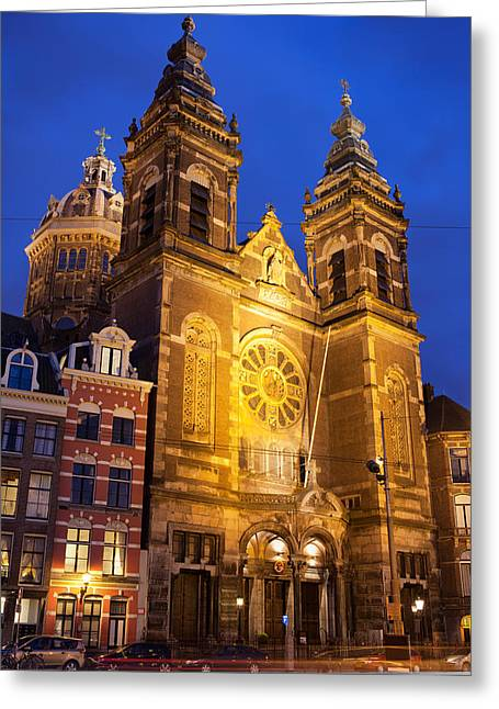 Nicholas Greeting Cards - Saint Nicholas Church at Night in Amsterdam Greeting Card by Artur Bogacki