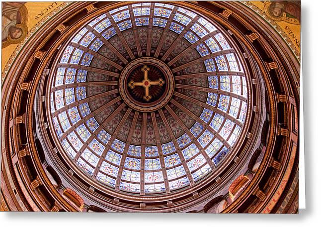 Cupola Greeting Cards - Saint Nicholas Church Dome Interior in Amsterdam Greeting Card by Artur Bogacki
