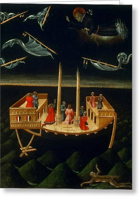 Nicholas Greeting Cards - Saint Nicholas of Tolentino Saving a Ship Greeting Card by Giovanni di Paolo