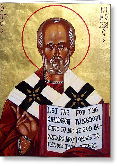St Nicholas Icon Greeting Cards - Saint Nicholas the Wonder Worker Greeting Card by Joseph Malham