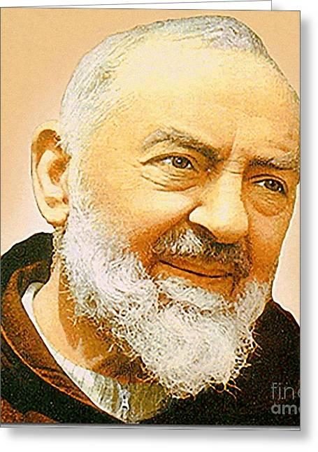 Capuccino Greeting Cards - Saint Padre Pio Greeting Card by Matteo TOTARO