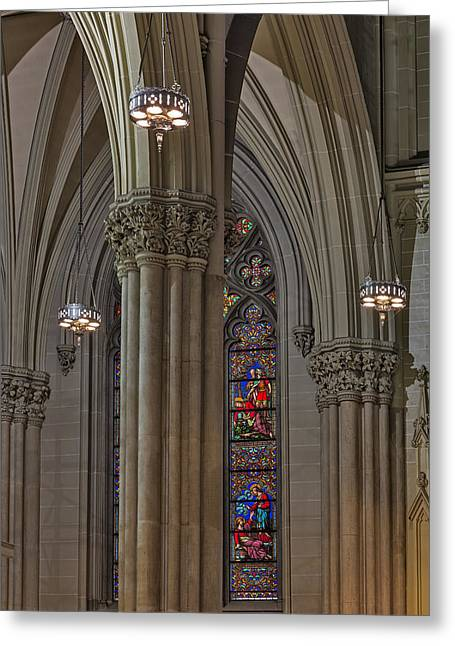 Neo-gothic-style Greeting Cards - Saint Patricks Cathedral Stained Glass Window Greeting Card by Susan Candelario