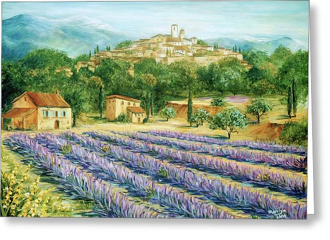 Lavender Fields Greeting Cards - Saint Paul de Vence and Lavender Greeting Card by Marilyn Dunlap