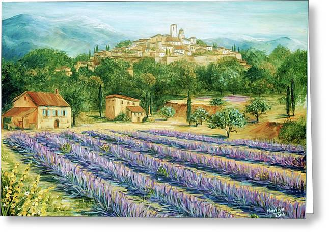 Saint Paul De Vence And Lavender Greeting Card by Marilyn Dunlap