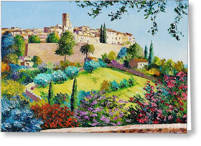 Coloured Greeting Cards - Saint Paul de Vence Greeting Card by Jean-Marc Janiaczyk