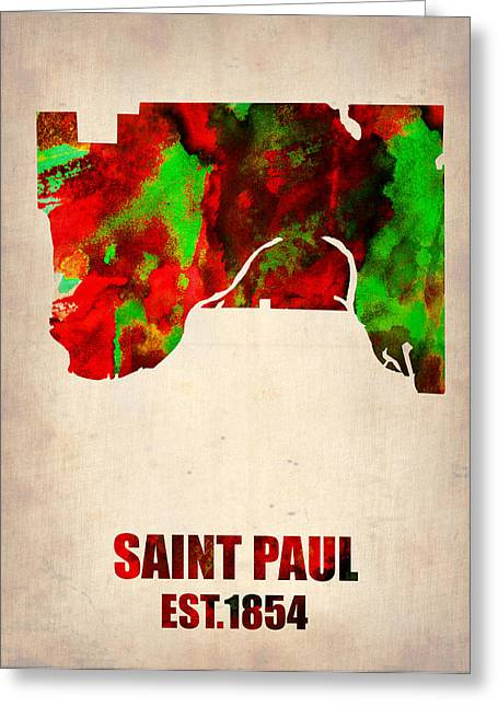 Sainted Greeting Cards - Saint Paul Watercolor Map Greeting Card by Naxart Studio