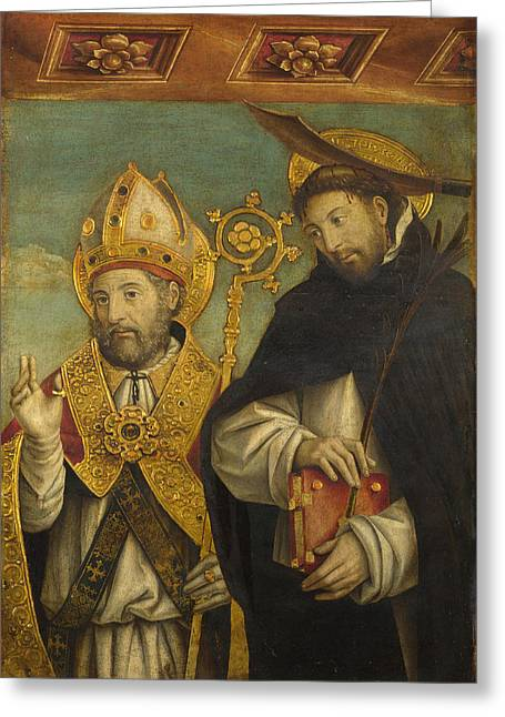 Martyr Greeting Cards - Saint Peter Martyr and a Bishop Saint Greeting Card by Giovanni Martino Spanzotti