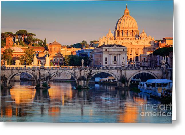 Roman Streets Greeting Cards - Saint Peters Basilica Greeting Card by Inge Johnsson