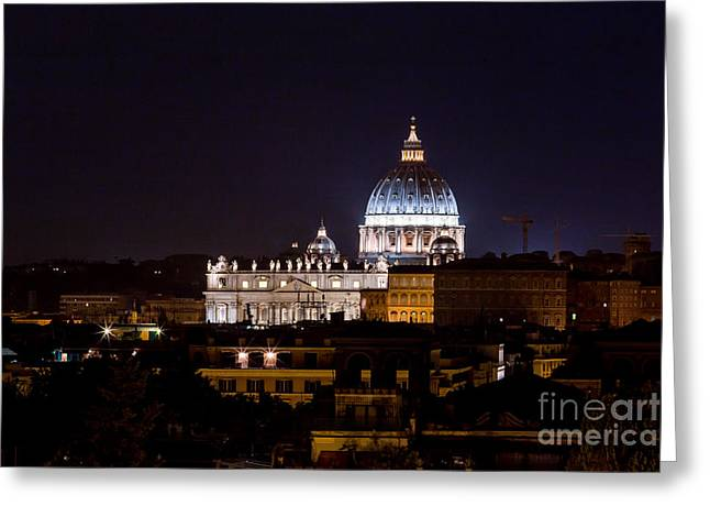 Basillica Greeting Cards - Saint Peters Night View Greeting Card by Alanna DPhoto