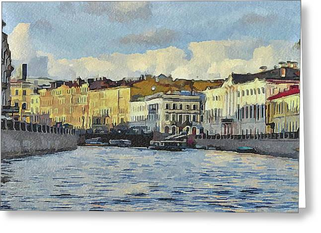 Old Town Digital Art Greeting Cards - Saint Petersburg 6 Greeting Card by Yury Malkov