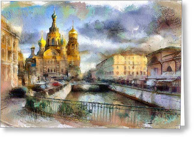 Old Street Digital Greeting Cards - Saint Petersburg Church on Blood Greeting Card by Yury Malkov