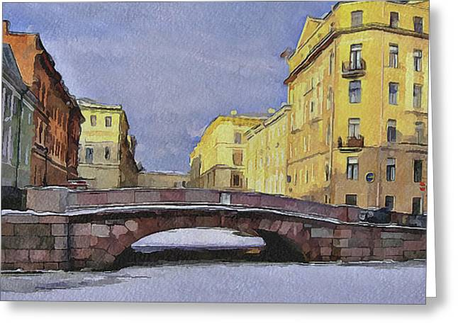 Old Street Greeting Cards - Saint Petersburg in winter 2 Greeting Card by Yury Malkov