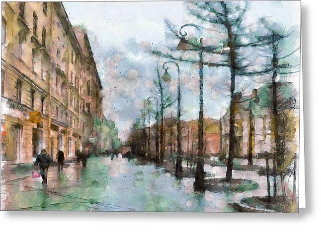 Old Street Greeting Cards - Saint Petersburg Rain Greeting Card by Yury Malkov