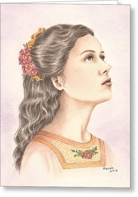 Martyrs Drawings Greeting Cards - Saint Philomena Greeting Card by Manon  Massari