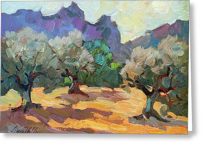 Desert Lake Greeting Cards - Saint Remy Olive Trees Greeting Card by Diane McClary