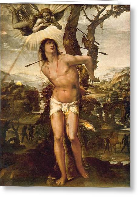 Palatina Greeting Cards - Saint Sebastian Greeting Card by Il Sodoma