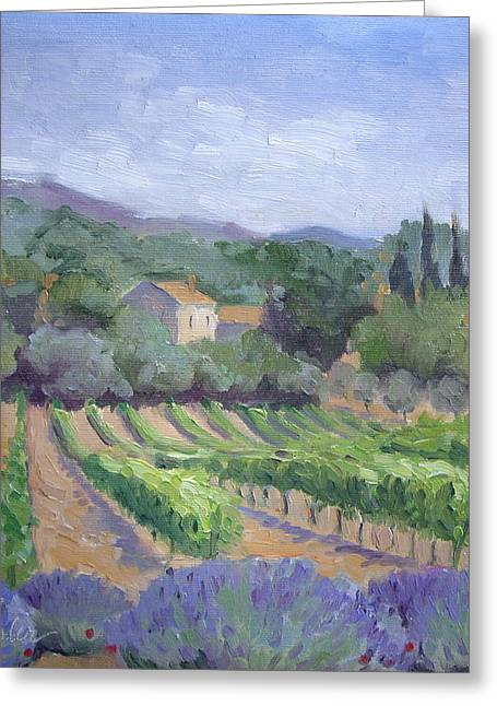 Provence Village Greeting Cards - Saint Ser Vineyard Greeting Card by Linda  Wissler