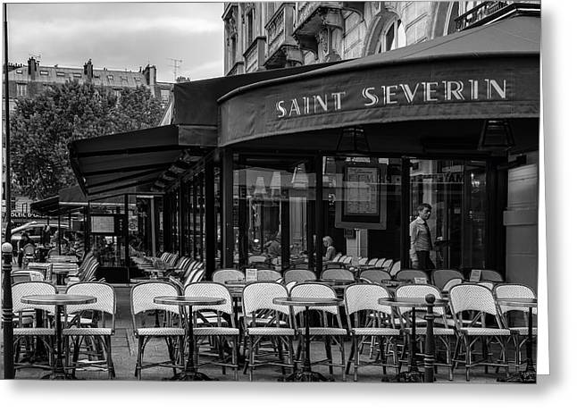 Al Fresco Greeting Cards - Saint Severin Cafe Greeting Card by Nomad Art And  Design