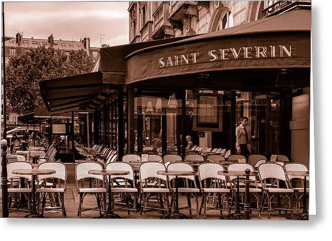 Al Fresco Greeting Cards - Saint Severin Cafe Toned Greeting Card by Nomad Art And  Design