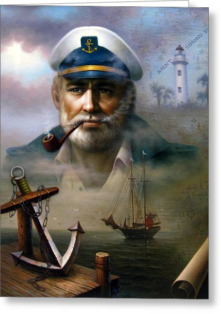 Ships Compass Greeting Cards - Saint Simons Island Sea Captain 2 Greeting Card by Yoo Choong Yeul