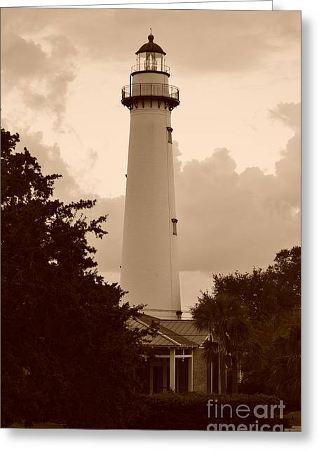 Peaceful Scene Greeting Cards - Saint Simons Lighthouse In Sepia Greeting Card by Bob Sample