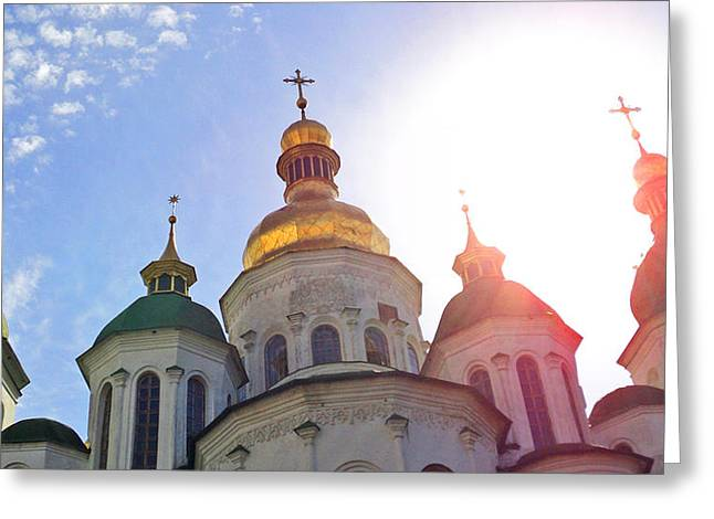 Kievan Rus Greeting Cards - Saint Sophia Blessing Greeting Card by Iryna Burkova