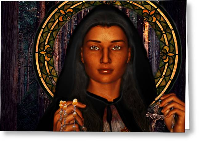 Rosary Digital Art Greeting Cards - Saint Tekakwitha The Lily of the Mohawks Greeting Card by Suzanne Silvir