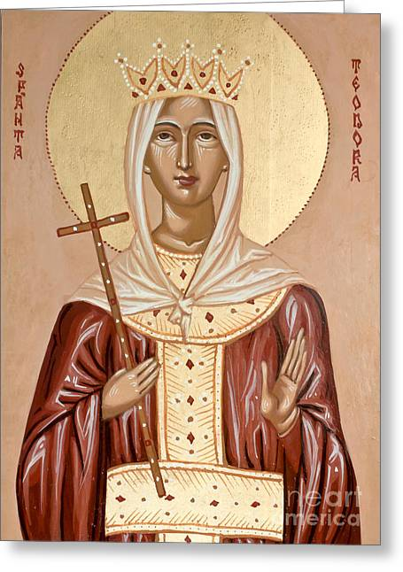 Handpainted Icon Greeting Cards - Saint Theodora of Arta Greeting Card by Olimpia - Hinamatsuri Barbu