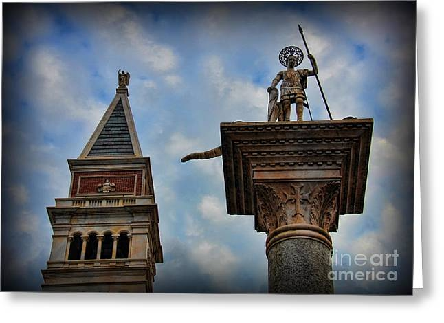 Byzantine Greeting Cards - Saint Theodore Standing Guard Greeting Card by Lee Dos Santos